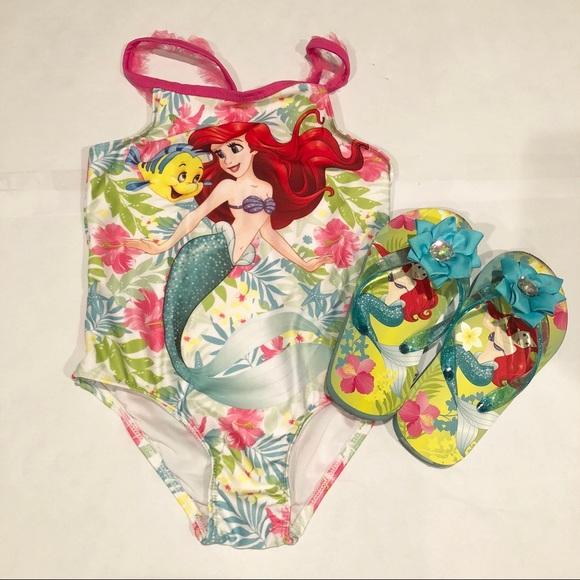 38ea3c17d5463 Disney Swim   Ariel Bathing Suit With Flip Flop 5t   Poshmark